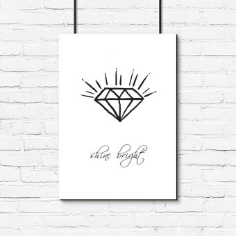 Plakat diament i napis
