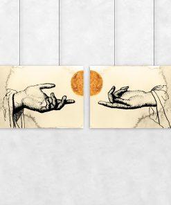 Dyptyk słońce i dłonie