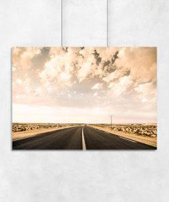 Plakat z ulicą i pustynią