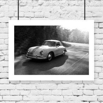 Plakat z samochodem vintage
