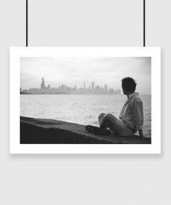 Plakat mężczyzna i miejska panorama