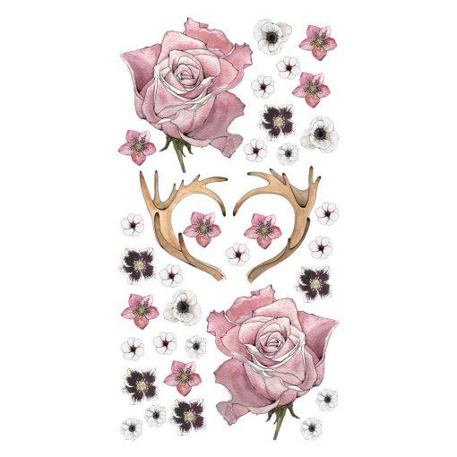Naklejka ścienna róże i poroże