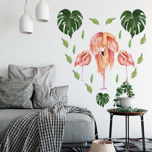 Naklejka ścienna z liśćmi monstery i flamingami