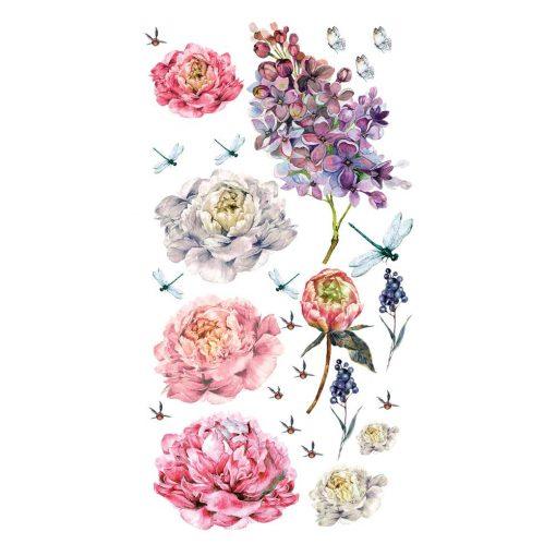 Naklejka ścienna kwiaty i ważki