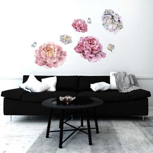 Naklejka na ścianę różowe kwiaty
