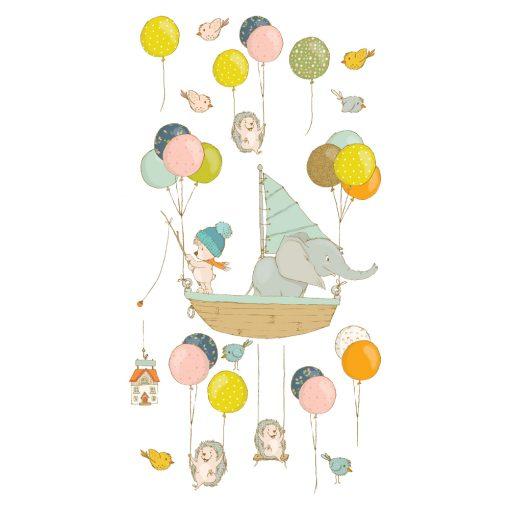 Naklejka ścienna z motywem balonów i żaglówki