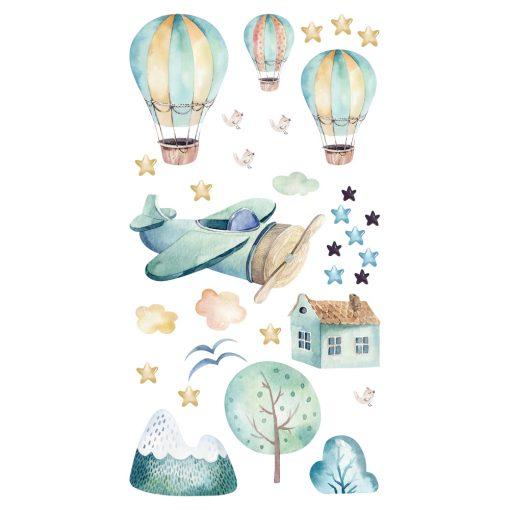 Naklejka ścienna balony i samolot
