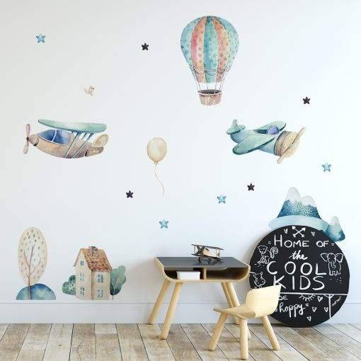 Naklejka ścienna balon i samoloty