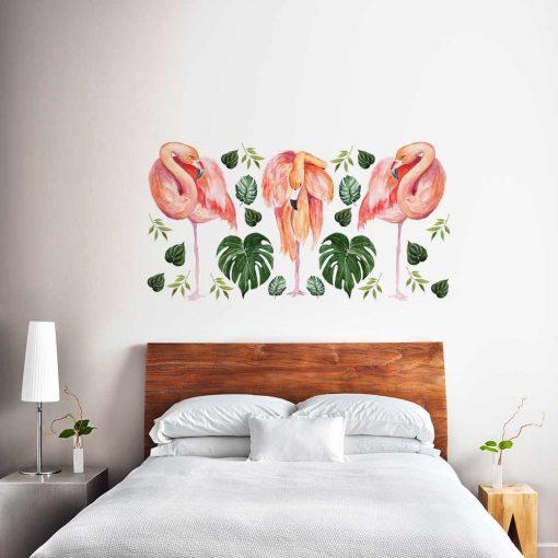 Naklejka na ścianę z motywem flamingów