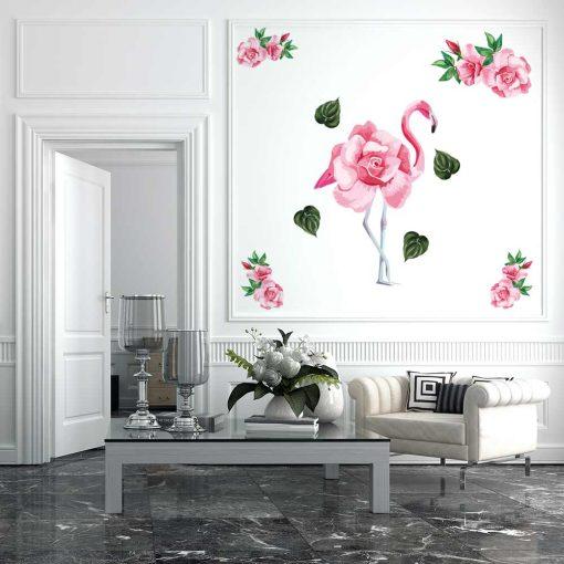 Naklejka ścienna flaming i róże