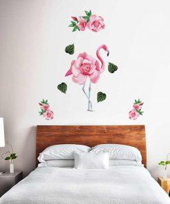 Naklejka na ścianę z flamingiem