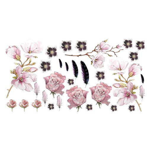 Naklejka ścienna kwiaty róży i magnolii