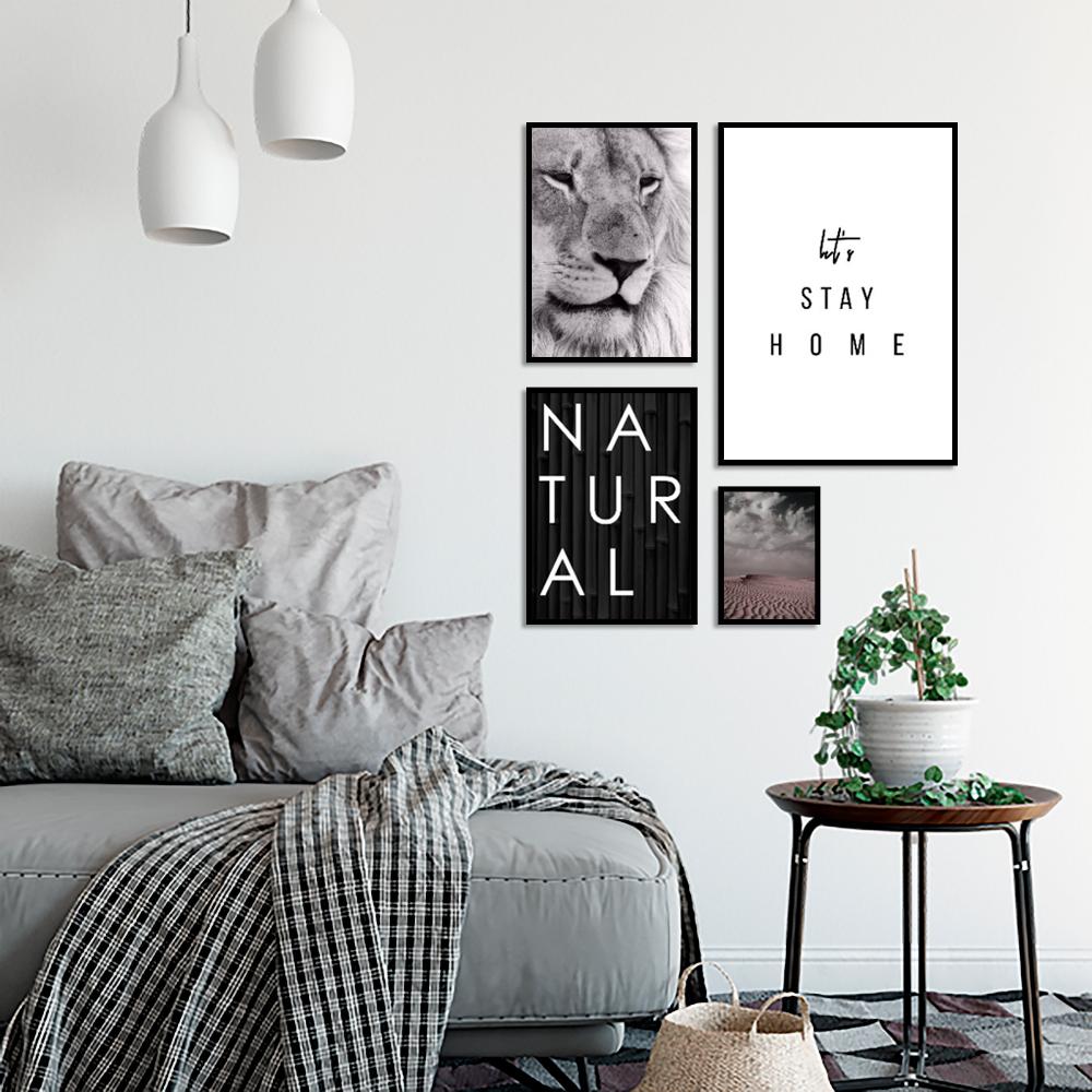 zestaw plakatów z lwem i napisami