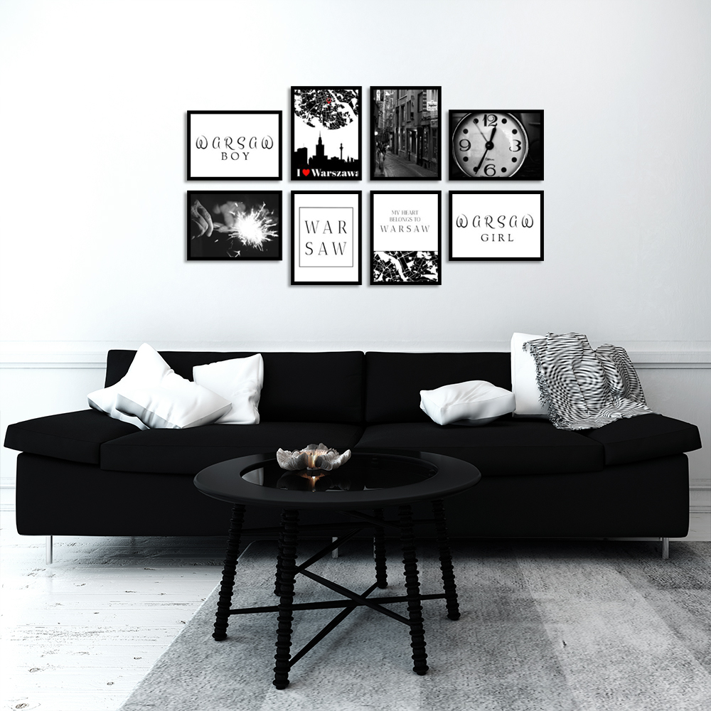 czarno-biały zestaw plakatów Warszawa