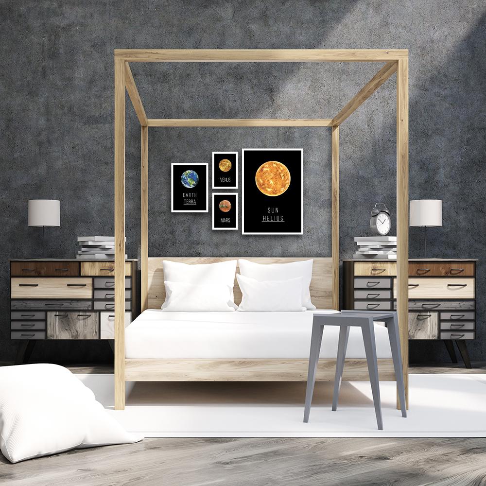 zestaw plakatów z planetami