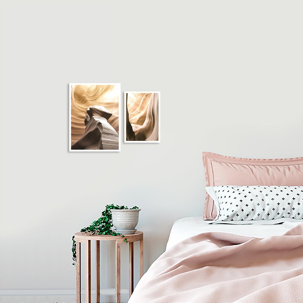 zestaw plakatów na ścianę w subtelnych kolorach