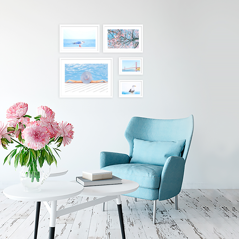 błękitny zestaw plakatów na ścianę