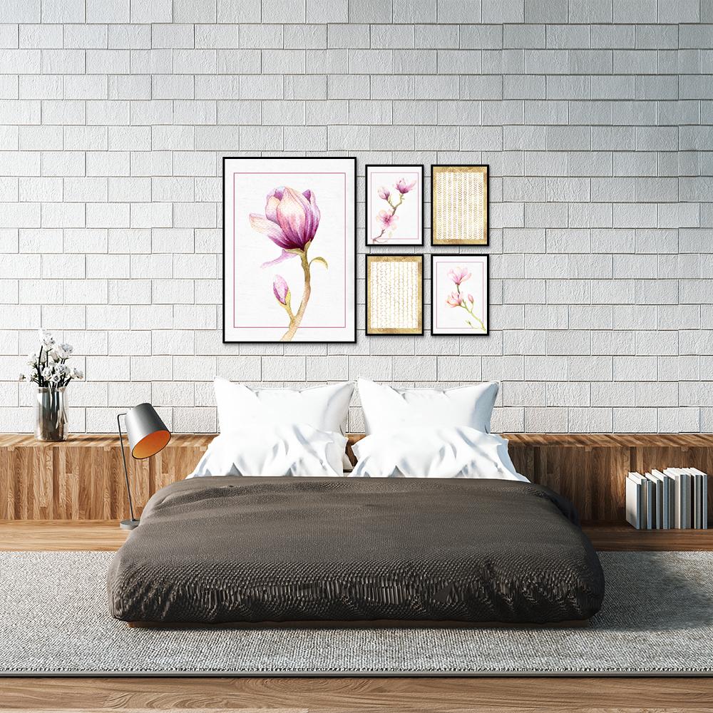 zestaw plakatów z magnoliami