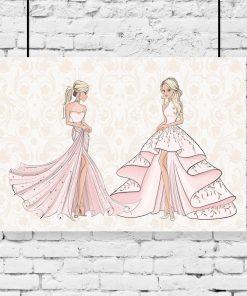 Plakat lalki w różowych sukniach