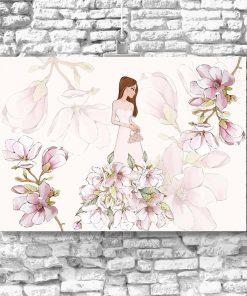 Plakat różowy z motywem kwiatów magnolii