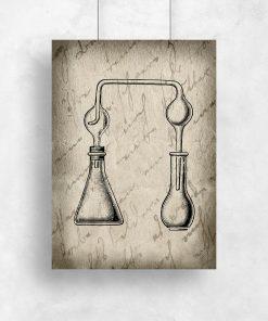 Beżowy plakat kolby chemiczne