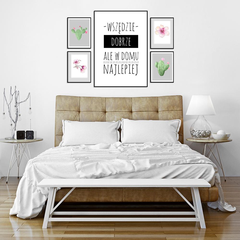 zestaw plakatów sentencja kaktusy kwiaty