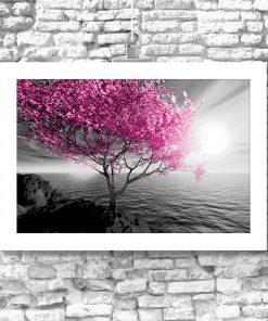 Plakat różowe drzewo i morze