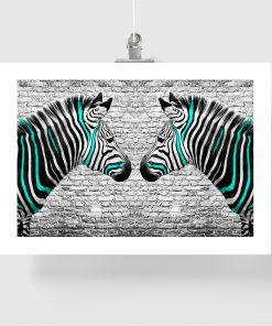 plakat zebry w turkusowe paski