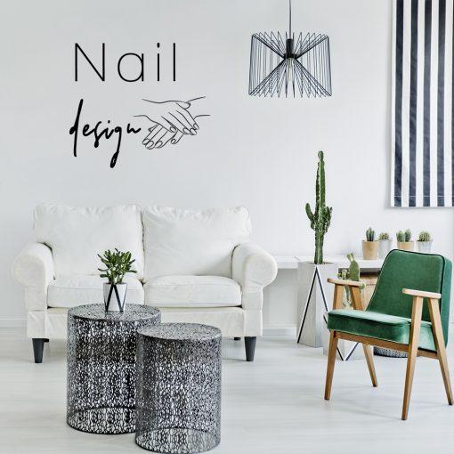 Ornament na ścianę dłonie i napis nail design