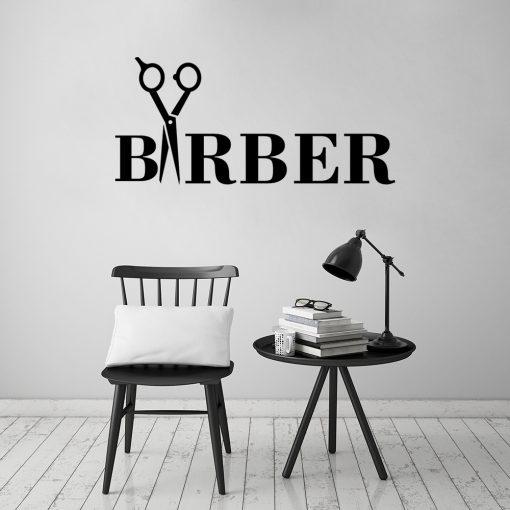 Naklejka na ścianę barber i nożyczki
