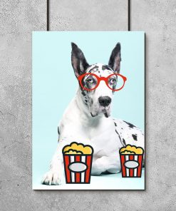 niebieski plakat pies i popcorn
