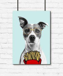 Plakat pies i okulary