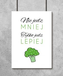 plakat z brokułem i napisem