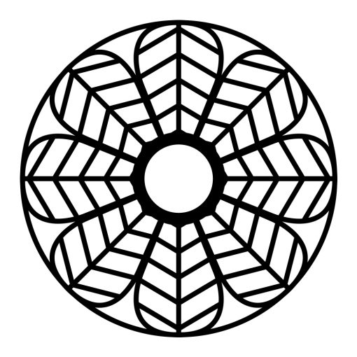 Naklejka jednokolorowa kwiat w okręgu