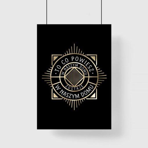 czarny plakat ze wzorem imitującym złoto