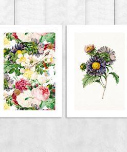 Zestaw dwóch plakatów z kwiatami