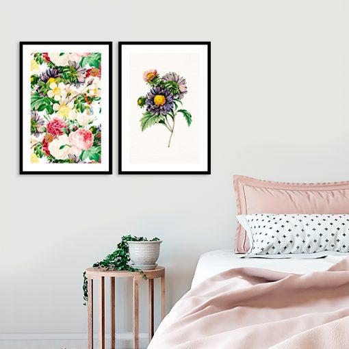 dwa plakaty we wzór kwiatów