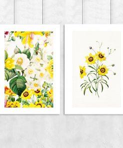 Żółty dyptyk w kwiaty