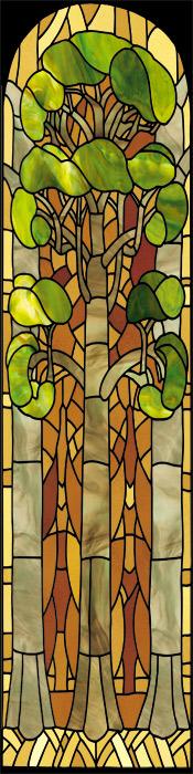 Naklejka z witrażem drzewa
