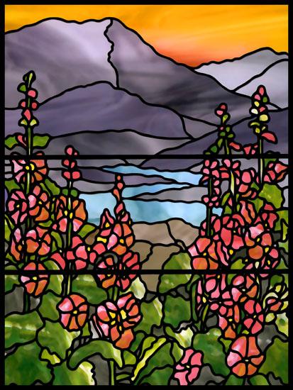Naklejka witrażowa kwiaty i zachód słońca