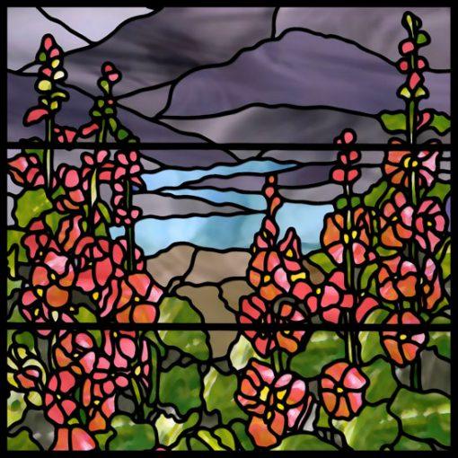 Naklejka z witrażem kwiatów