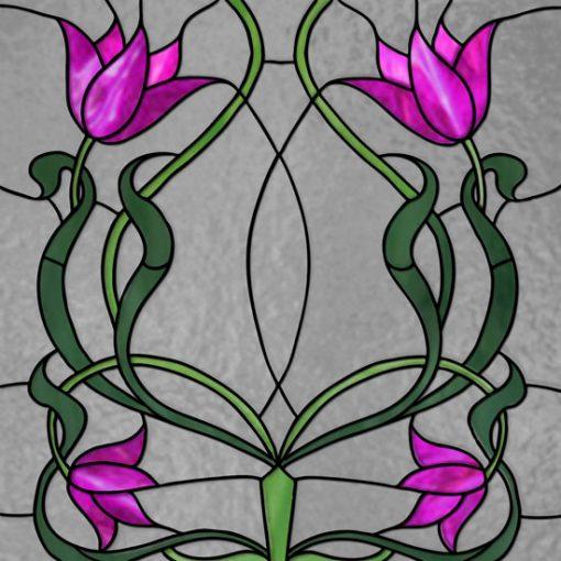 Witraż samoprzylepny różowe kwiaty