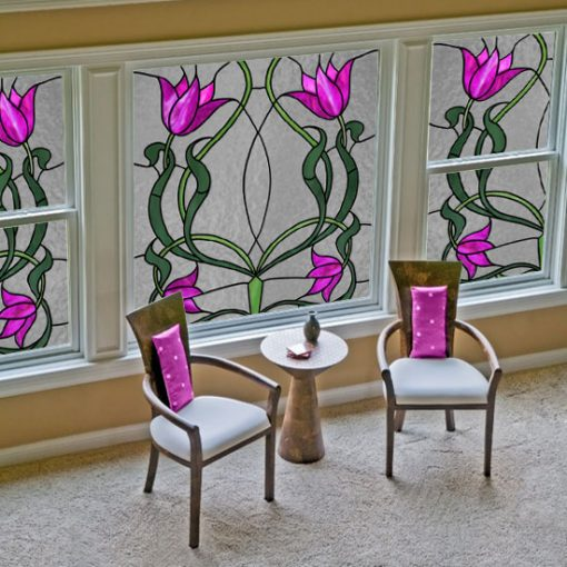 Naklejka witrażowa z tulipanami
