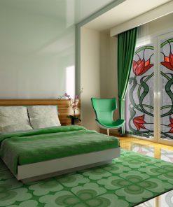 Naklejka witrażowa z motywem kwiatów tulipanów