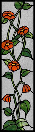 Naklejka witrażowa pnącza z kwiatami
