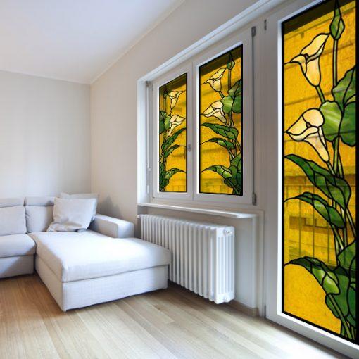 Naklejka witrażowa żółta