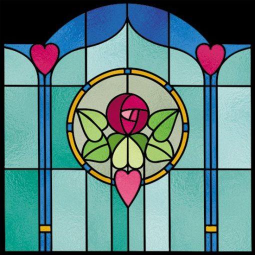 Witraż samoprzylepny z sercami i różą