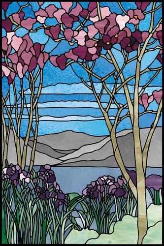 Naklejka witrażowa niebieska z motywem kwiatów