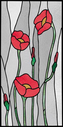 Witraż samoprzylepny z pąkami kwiatów