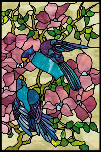 Naklejka witrażowa kwiaty i ptaki